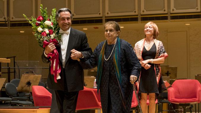 Риккардо Мути и Ирина Шостакович. Чикаго, 21 сентября 2018 года. Фото – Тодд Розенберг