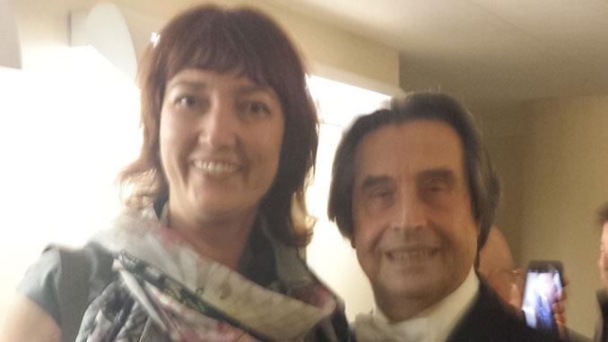 Ирина с Риккардо Мути. Чикагский симфонический центр. Фото из архива И.Феоктистовой