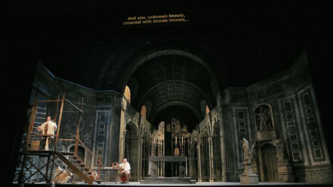 """Сцена из спектакля """"Тоска"""" (Опера Сан-Диего). Фото - Кен Ховард"""