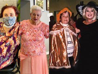 """Лиля """"Ляля"""" Сорока, 79, чувствует себя комфортно в основном в мини юбках, которые показывают её восхитительные ноги; Галина Голд выглядит стильно в своём кошачьем ансамбле; Мастер-швея Любовь Лахтер заботиться о каждой детали своего наряда. Фото: Л. Литас; Мария Мунтян (слева) и Марта Литас, основатель Центра, наряжены на Хэллоуин. Фото: Forever Young; Стильный посетитель Центра Кристофор Кандинов. Фото: Л. Литас"""